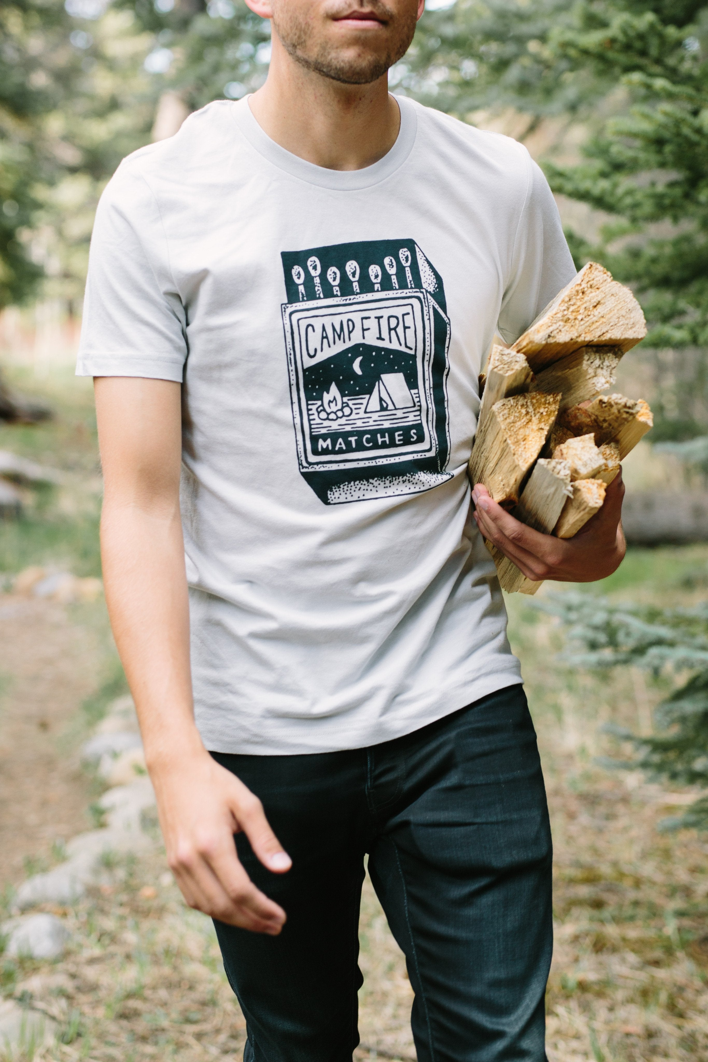 Campfire Matches Tee-Silver - Tiny Town Essentials