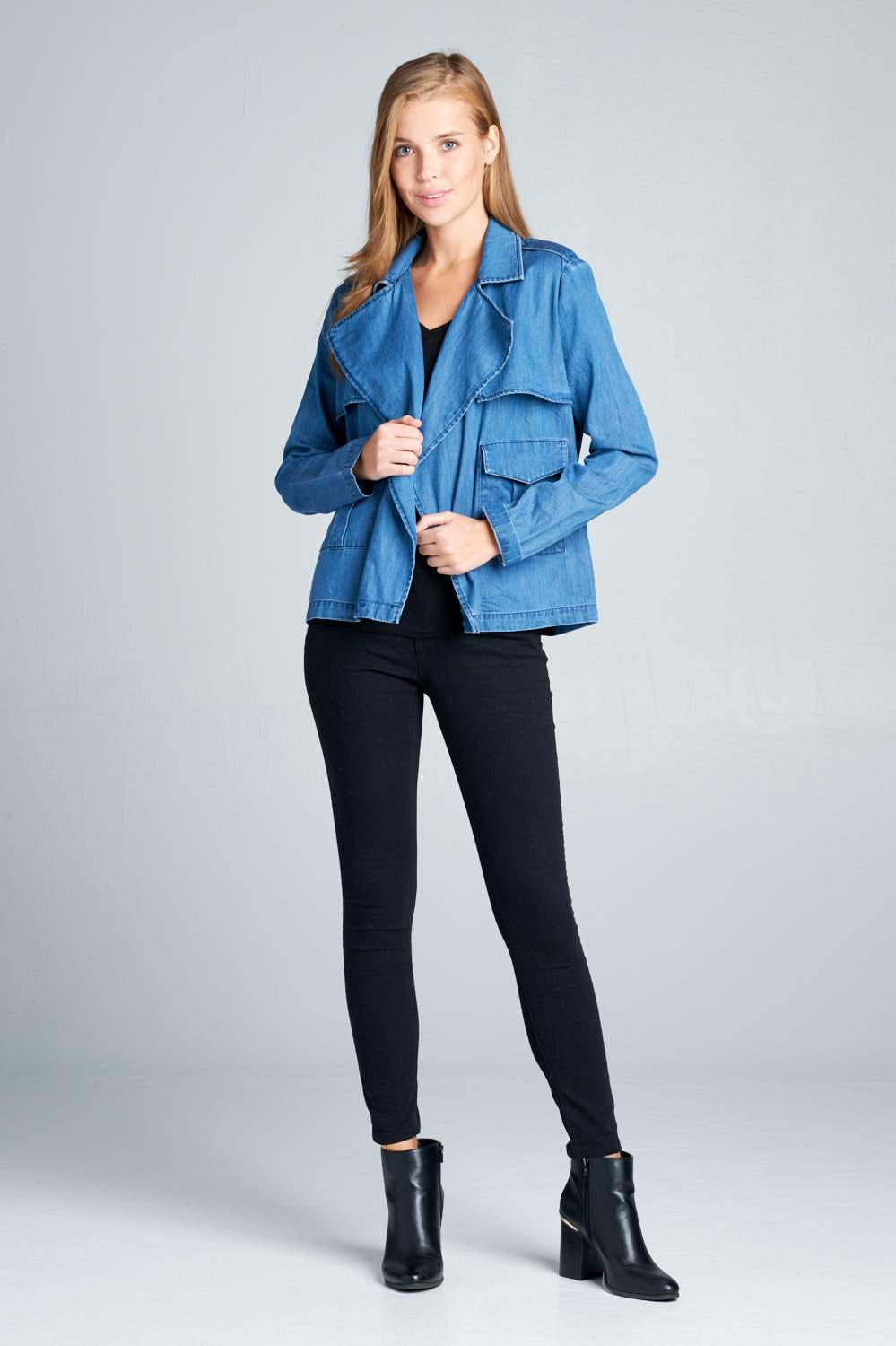 LONG SLEEVE DENIM BLAZER WITH POCKETS - Tiny Town Essentials