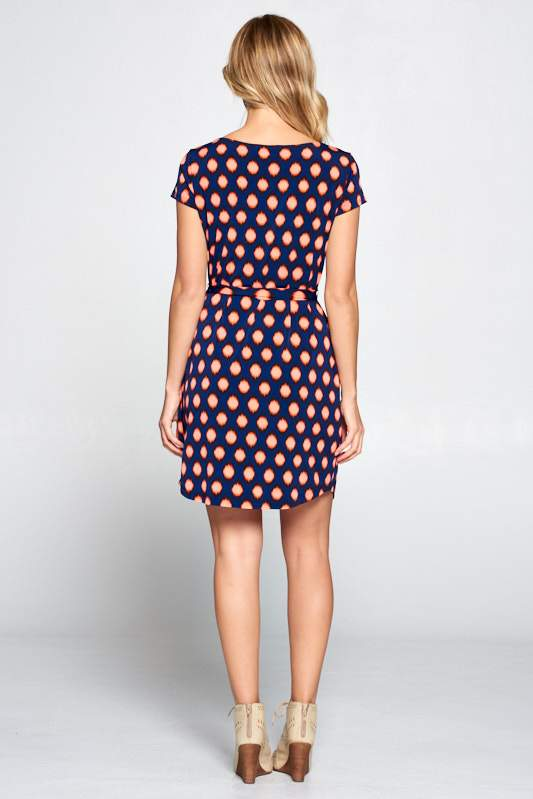 Navy Orange Abstract Dress with Waist Tie - Tiny Town Essentials