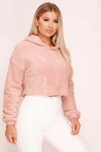Pink Teddy Fur Cropped Hoodie - Tiny Town Essentials