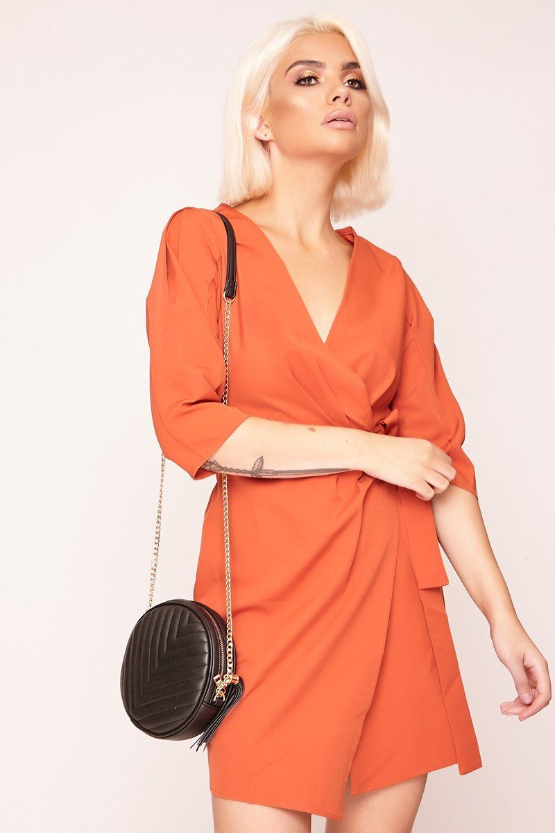 Orange Wrap Front Mini Dress - Tiny Town Essentials