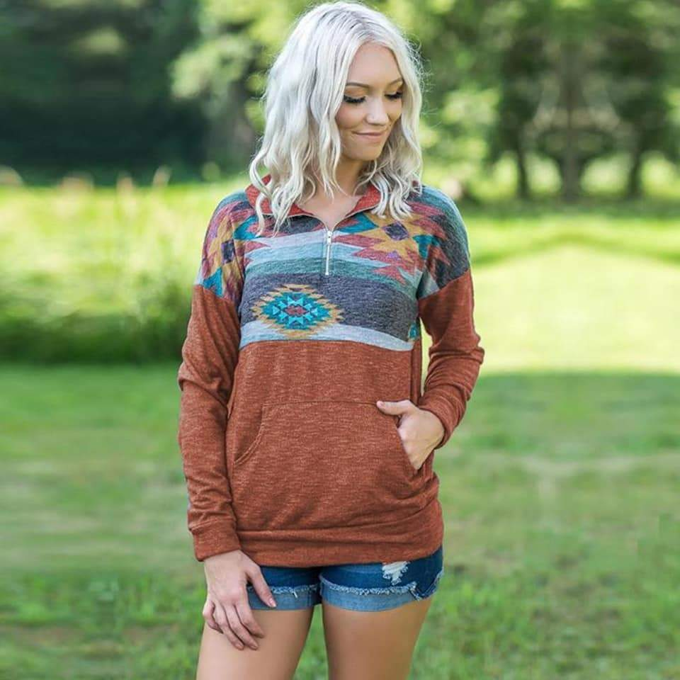 Aztec pullover in burnt orange - Tiny Town Essentials