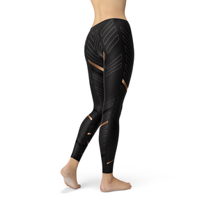 Womens Sports Stripes Black Leggings - Tiny Town Essentials