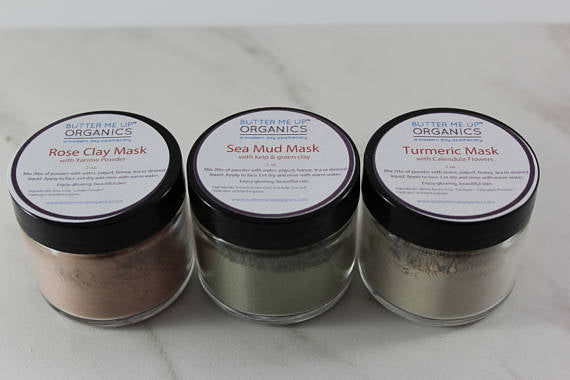 Clay Face Mask Trio Rose Clay French Green Clay - Tiny Town Essentials