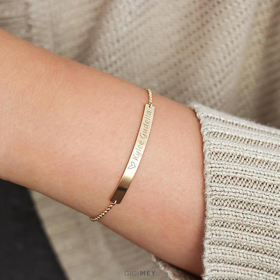 Bar bracelet, sterling silver or gold filled • - Tiny Town Essentials