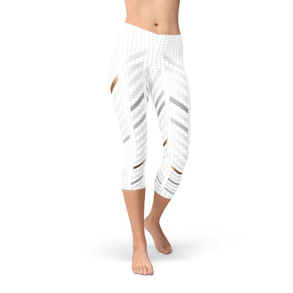 Womens White Stripes Capri Leggings - Tiny Town Essentials