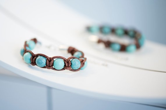Macrame knot leather beaded bracelet - Tiny Town Essentials