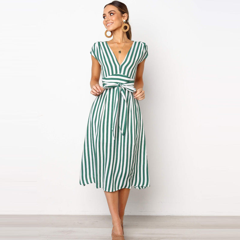Striped V-Neck Dress - Tiny Town Essentials