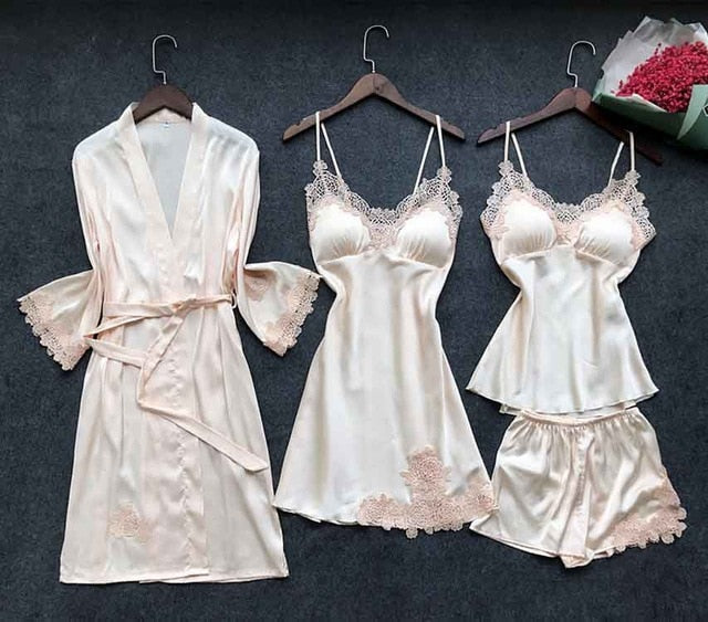 Sexy Women's Robe & Gown Sets Lace Bathrobe + Night Dress 4 Four Pieces Sleepwear Womens Sleep Set Faux Silk Robe Femme Lingerie - Tiny Town Essentials