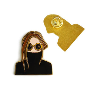 Black Turtleneck Woman Enamel Pin - Tiny Town Essentials