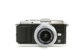 Camera Leather decoration sticker for Olympus PEN E-P3 Crocodile Black Type