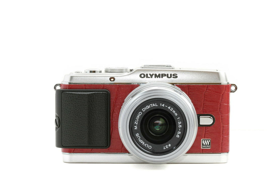 Camera Leather decoration sticker for Olympus PEN E-P3 Crocodile Red Type