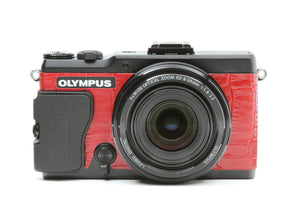 Camera Leather decoration sticker for Olympus Stylus XZ-2 Crocodile Red Type