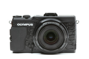 Camera Leather decoration sticker for Olympus Stylus XZ-2 Crocodile Black Type