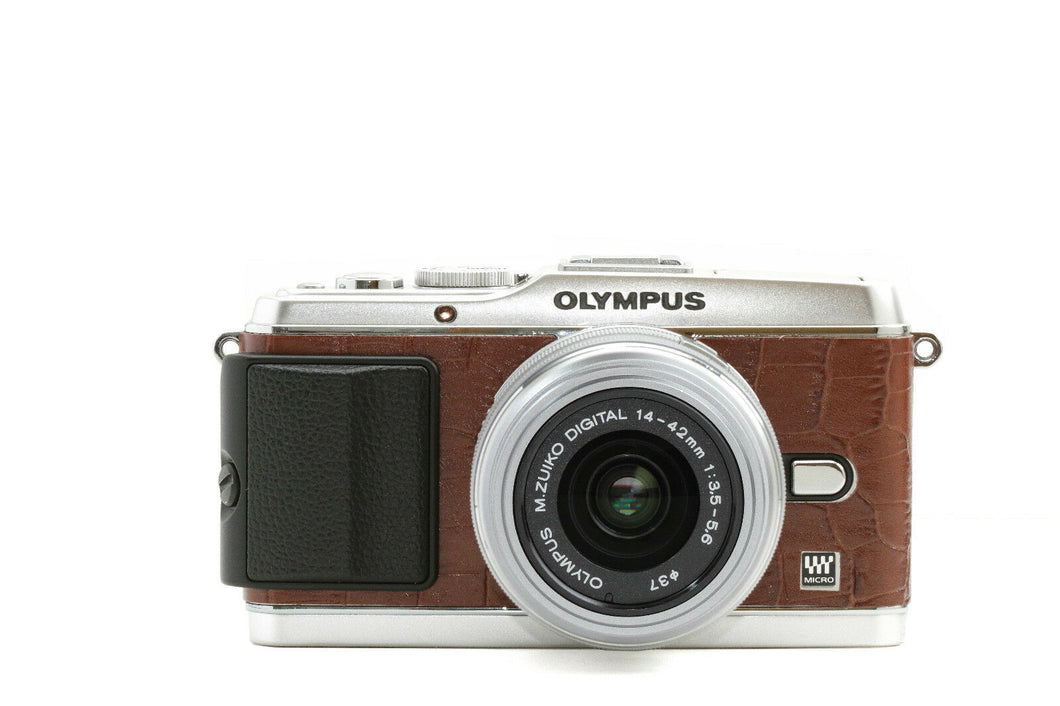 Camera Leather decoration sticker for Olympus PEN E-P3 Crocodile Brown Type
