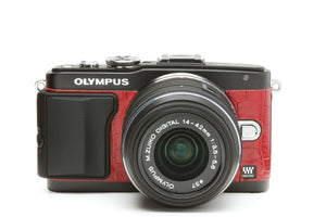 Camera Leather decoration sticker for Olympus E-PL5 & E-PL6 Crocodile Red Type