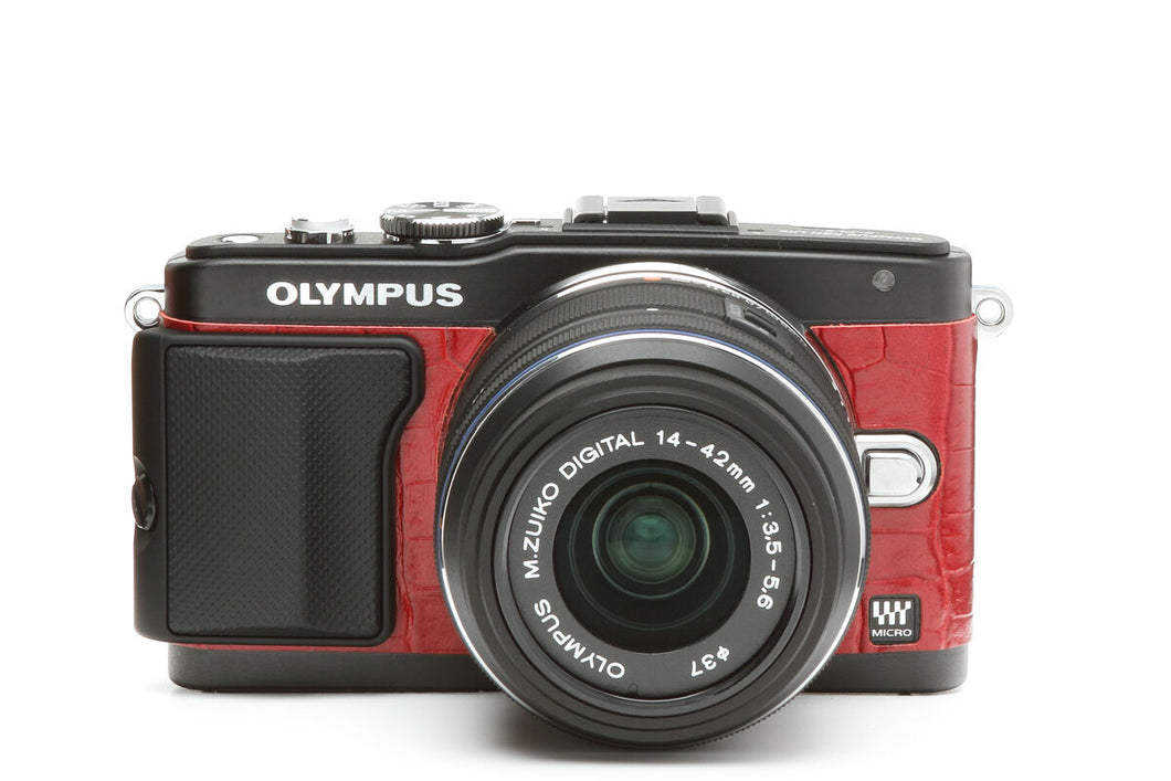 Camera Leather decoration stickers for Olympus E-PL5 & E-PL6 Crocodile Red Type