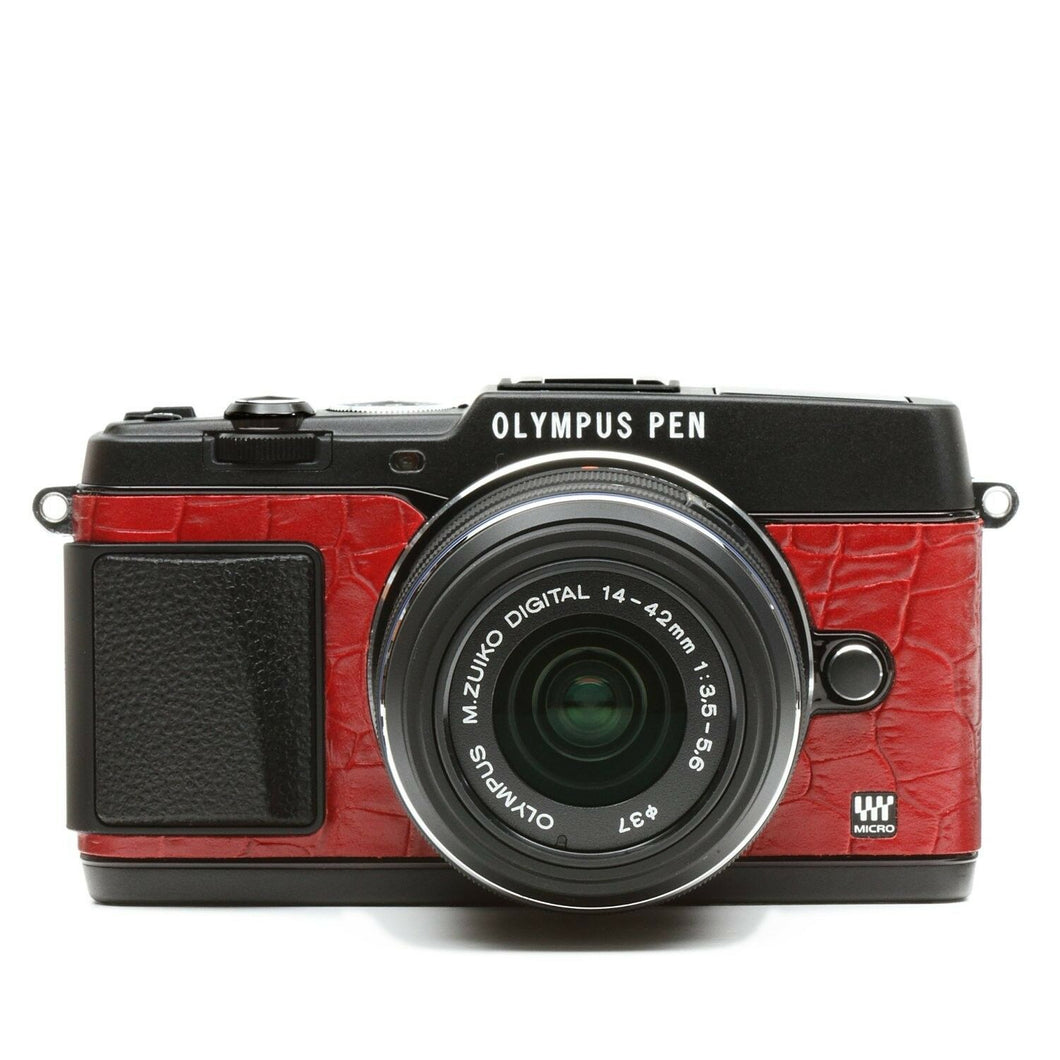 Camera Leather decoration sticker for Olympus PEN E-P5 Crocodile Red 8020