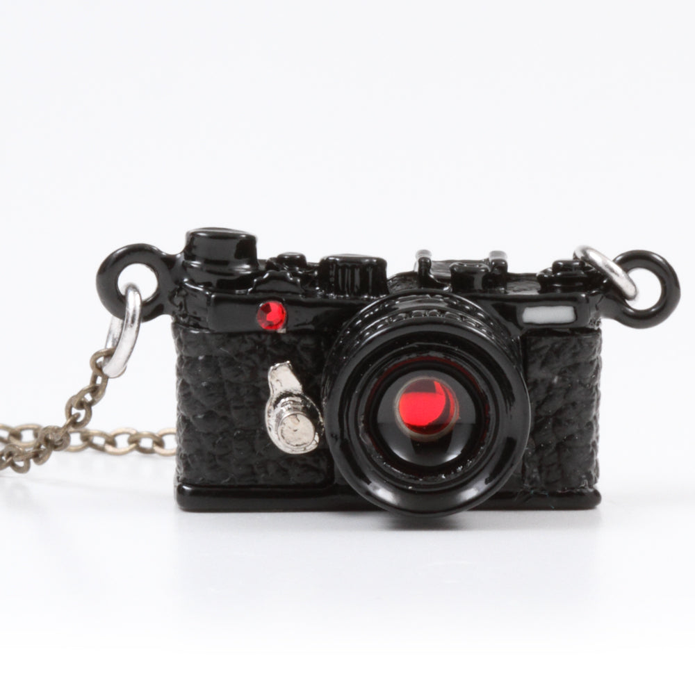 Miniature Camera Necklace Range finder Black with Swarovski made in Japan