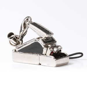 Miniature camera charm Polaroid type Black leather Made in Japan