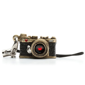 Miniature camera charm Range finder type Antique Brass with Swarovski made in Japan