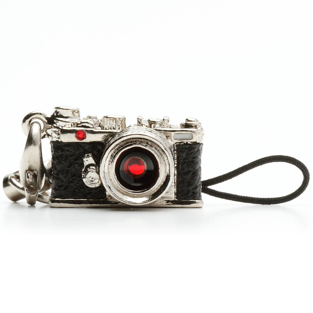 Miniature camera charm Range finder type Silver with Swarovski Made in Japan