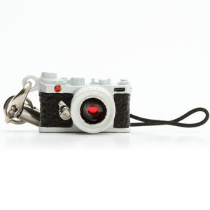 Miniature camera charm Range finder type white with Swarovski made in Japan