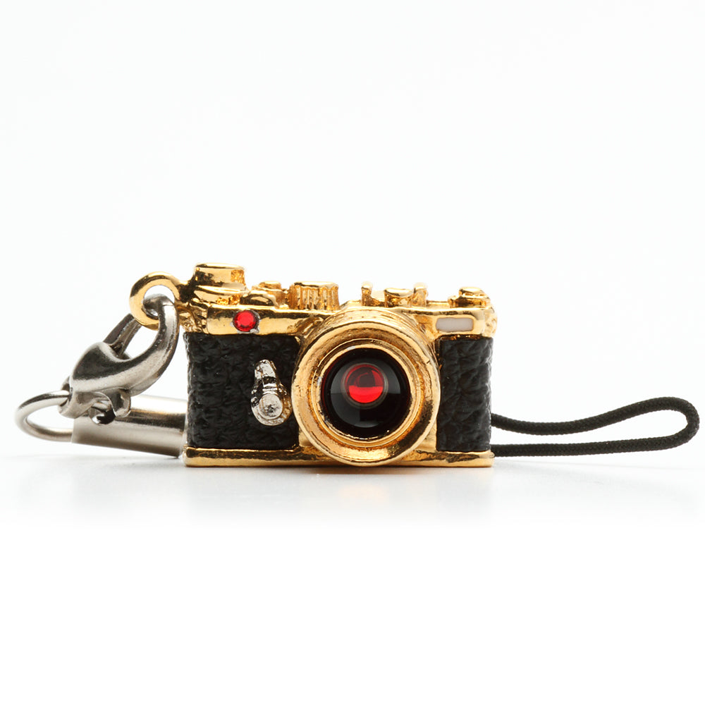 Miniature camera charm Range finder type Gold with Swarovski made in Japan