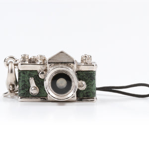 Miniature camera charm SLR type Green leather Made in Japan