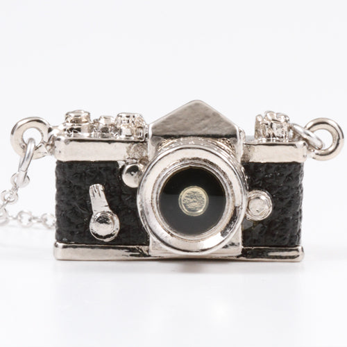 Miniature Camera Necklace SLR type Black leather Made in Japan