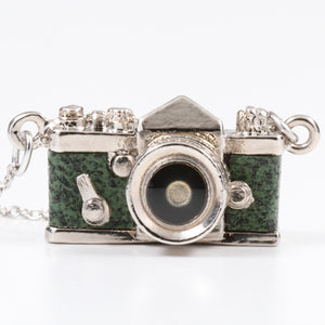 Miniature Camera Necklace SLR type Green leather Made in Japan