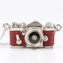 Load image into Gallery viewer, Miniature Camera Necklace SLR type Wine Red leather Made in Japan