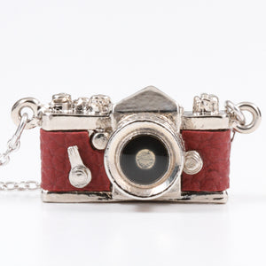 Miniature Camera Necklace SLR type Wine Red leather Made in Japan