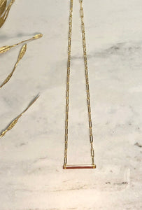 18k Gold Paperclip Chain with 24k Gold Bar