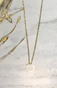 18k Gold Paperclip Chain with 24k Gold Circle
