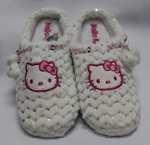 HELLO KITTY KIDS / ADULT BEDROOM SLIPPERS-WHITE K 2353