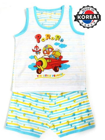 PORORO SLEEVELESS SET-AIRPLANE BLUE [MADE IN KOREA]