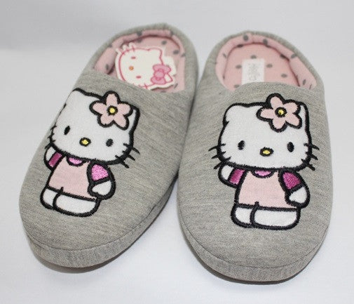 HELLO KITTY KIDS / ADULTS BEDROOM SLIPPERS- GREY K 2352 [MADE IN TAIWAN]