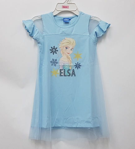 DISNEY FROZEN ELSA SUMMER CHILL FLARE SLEEVES DRESS WITH LACE -BLUE [DP-4160-38]