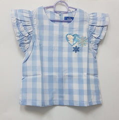 DISNEY FROZEN ELSA SUMMER CHILL TIERED RUFFLES SLEEVES TOP -BLUE [DP-4158-08]