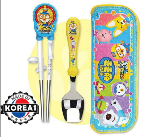 PORORO SET- TRAINING CHOPSTICKS, SPOON & CASE [MADE IN KOREA]