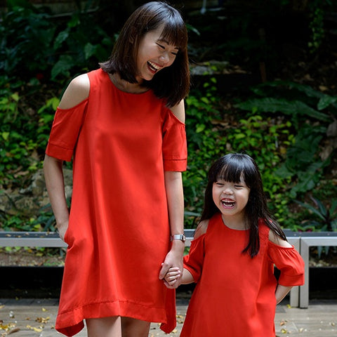 ANGELIC EYES MOTHER DAUGHTER MATCHING COLD SHOULDER DRESS - RED [A-2476-38]