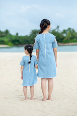 ANGELIC EYES COLD SHOULDER MOTHER DAUGHTER MATCHING DRESS- LIGHT BLUE [A-2498-38]
