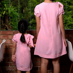 ANGELIC EYES MOTHER DAUGHTER MATCHING DRESS -LIGHT PINK WITH RIBBON [A-2503-38]