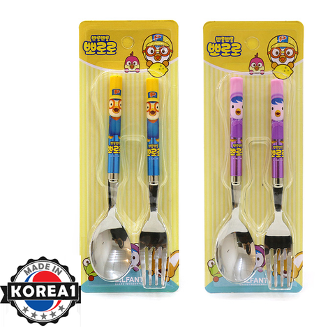 PORORO STAINLESS STEEL FORK AND SPOON -PORORO BLUE [MADE IN KOREA]