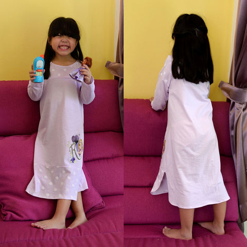 DISNEY PRINCESS RAPUNZEL LONG SLEEVES PYJAMAS DRESS - PURPLE [DP-4103-22]