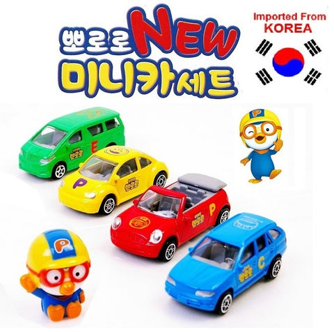 PORORO FIGURINE & MINI CARS TOY SET [METAL DIE-CAST] [FROM KOREA]