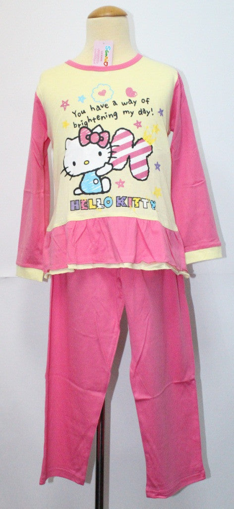 HELLO KITTY SLEEPWEAR LONG SLEEVE SET -KT 88223 PINK/YELLOW