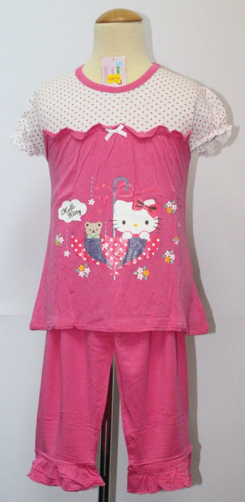 HELLO KITTY KIDS PINK SHORT SLEEVE TOP & PANTS SET- KT 88122