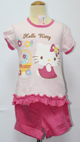 HELLO KITTY KIDS SHORT SLEEVE TOP & SHORTS SET- KT 88176 PINK